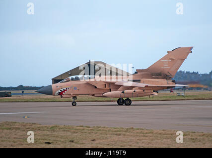 Panavia Tornado GR at RAF Lossiemouth after its 25 years service showing a paint scheme to acknowledge its Gulf - Stock Image