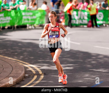 Tracy Barlow  competing for Great Britain in the 2018 Women's Elite London Marathon. She went on to finish .9th, in a time of 02:32:09 - Stock Image