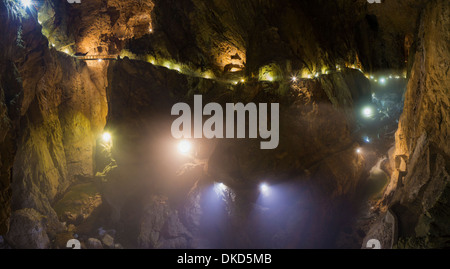 The huge main chamber in Skocjan Caves Park, Slovenia - a UNESCO World Heritage Site. - Stock Image