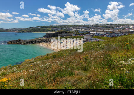 Porthgwidden Beach, view from The Island, St Ives, Cornwall, England, United Kingdom - Stock Image