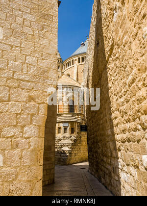 View of the Abbey of Dormition (Church of the Cenacle) on mount Zion, Israel. - Stock Image