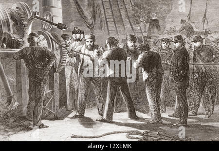 Workers examining the Atlantic telegraph cable, after raising it, on board The Great Eastern.  From The Illustrated London News, published 1865. - Stock Image