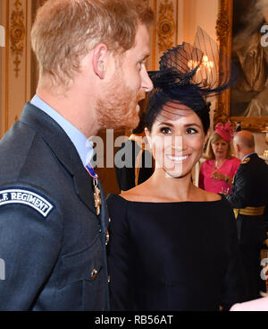 Prince Harry and Meghan, The Duke and Duchess of Sussex, attend a reception for 100 members of the Royal airforce at Buckingham Palace in London, England on July 10th 2018 to celebrate a the centenary of the Royal Air Force. - Stock Image