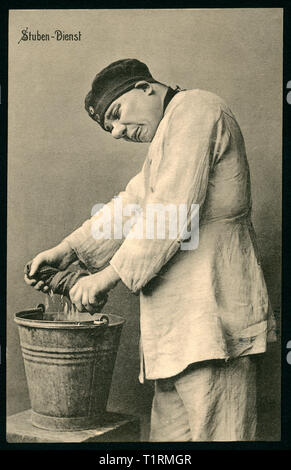 Germany, Berlin, WW I, barrack room service, soldier with an floorcloth, caricature, postcard, sent 01. 06. 1915. , Additional-Rights-Clearance-Info-Not-Available - Stock Image
