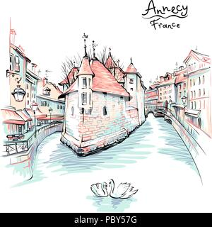 Annecy, Venice of the Alps, France. - Stock Image