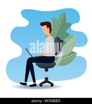 businessman sitting in the chair with laptop and leaves - Stock Image