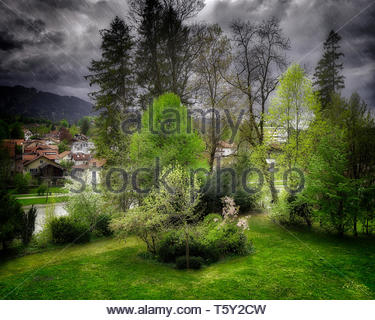 CONCEPT PHOTOGRAPHY: April Rain (HDR-Image, Bad Tölz, Bavaria, Germany) - Stock Image