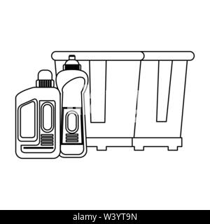 Set of cleaning equipment and products in black and white - Stock Image