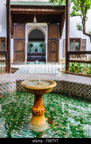 Fountain in Dar Si Said Palace in the Medina of Marrakech, Morocco - Stock Image