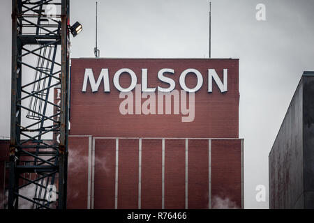 MONTREAL, CANADA - NOVEMBER 5, 2018: Molson Coors logo on Molson Brewery brick tower in downtown Montreal, Quebec. It is one of the biggest beer produ - Stock Image