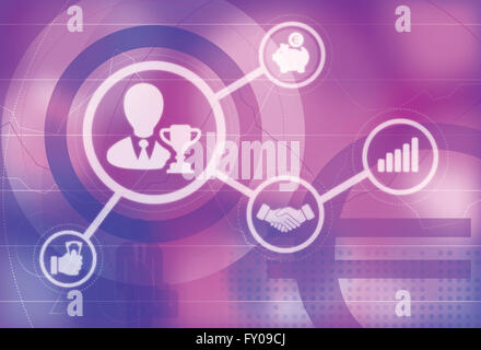 Illustrative icons of business champion, Business meeting, Growth chart, Savings - Stock Image