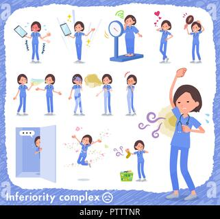 A set of Surgical Doctor women on inferiority complex.There are actions suffering from smell and appearance.It's vector art so it's easy to edit. - Stock Image