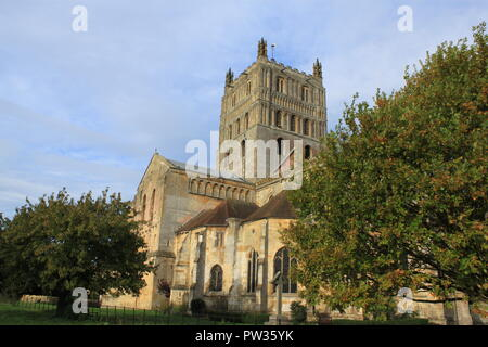 Tewkesbury Abbey on an Autumnal day - Stock Image