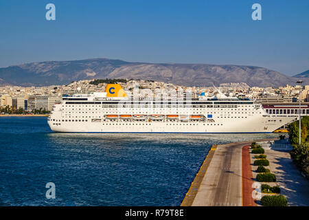 Costa Cruises Costa Riviera moored in the port of Piraeus Athens Greece Europe - Stock Image