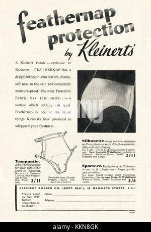 1939 UK Magazine Kleinert's Sanitary Underwear Advert - Stock Image