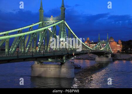 Hungary, Budapest, Liberty Bridge, Danube River, - Stock Image