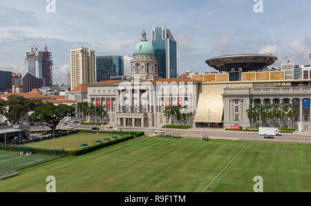Central Padang, the Singapore Sports hub and parliament, Singapore, Asia, drone shot - Stock Image