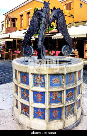 Seahorses Fountain, Martyron Evreon, Rhodes Town, Rhodes Greece - Stock Image