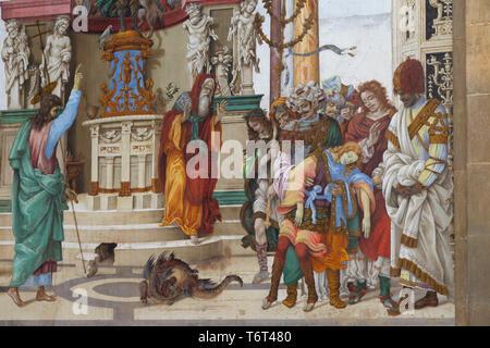 St Philip the Apostle in Front of Temple of Mars in Hierapolis, Filippino Lippi, 1502, Filippo Strozzi Chapel, Basilica di Santa Maria Novella, Church - Stock Image