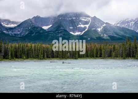 Hazy mountains somewhere in Jasper - Stock Image