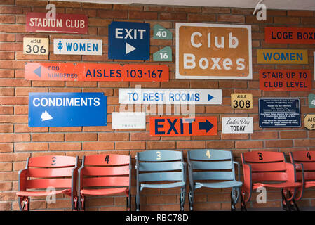 A series of historic signs mounted on a wall of one of the entry points to Dodger Stadium field in Los Angeles, Ca, United States of America - Stock Image