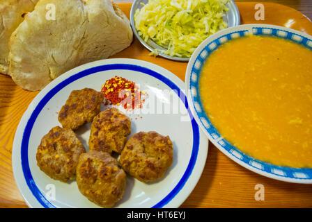 Qafta, kofta, other local foods, Pristina, Kosovo - Stock Image