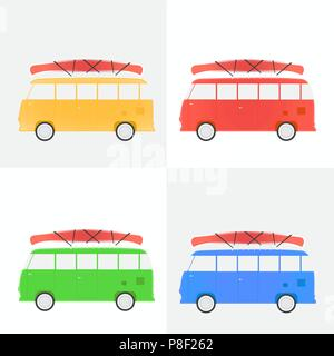 Bus for traveling with a canoe, set of different flowers, vector illustration - Stock Image