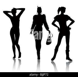 Fashion woman silhouettes - Stock Image