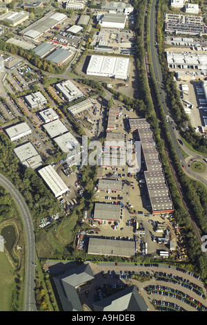 Aerial view of Longshot Lane Bracknell showing industrial estate and units - Stock Image