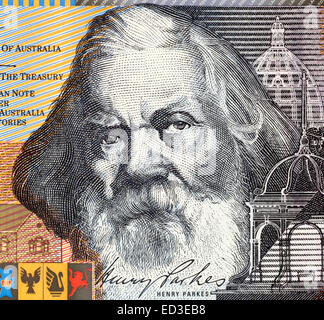 Henry Parkes (1815-1896) on 5 Dollars 2001 banknote from Australia. The Father of the Australian Federation. - Stock Image