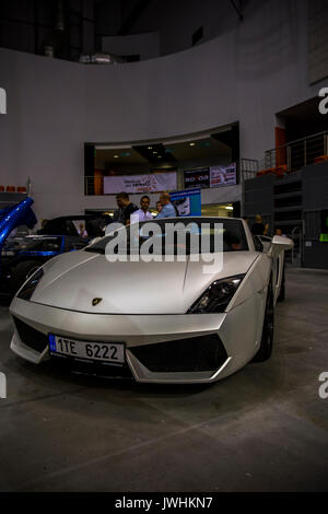 Bielsko-Biala, Poland. 12th Aug, 2017. International automotive trade fairs - MotoShow Bielsko-Biala. Lamborghini Gallardo parked on the hall. Credit: Lukasz Obermann/Alamy Live News - Stock Image