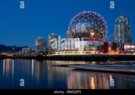 Telus World of Science dome on False Creek in Vancouver, BC, Canada. Science World Vancouver. - Stock Image