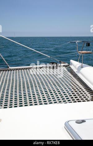 Catamaran Deck at Sea - Cape Town, South Africa - Stock Image