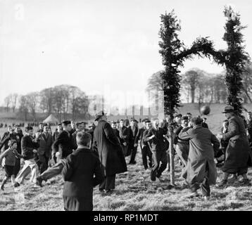 The first 'Hale' being scored for St Micheal's who won, by 2-1, in the annual Shrovetide football match at Alnwick yesterday. 10th February 1937. - Stock Image