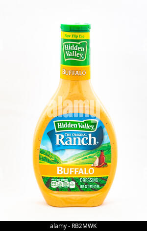 A bottle of Hidden Valley Buffalo Ranch dressing isolated. - Stock Image