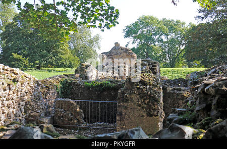 A view of the interior of the ruins of the Norman Bishop's Chapel at North Elmham, Norfolk, England, United Kingdom, Europe. - Stock Image
