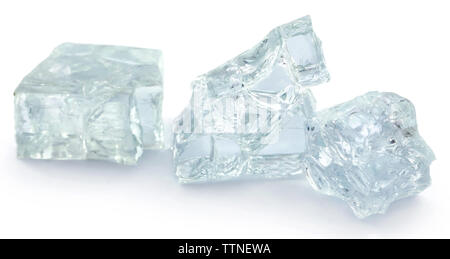 Broken glass isolated over white background - Stock Image