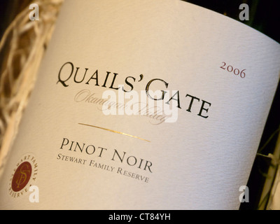 Quails' Gate Pinot Noir bottle from the Okanagan valley in Canada - Stock Image