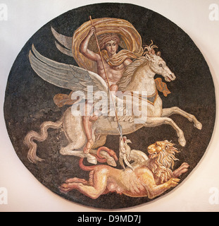 Roman mosaic of ancient Greek Hero Bellerofon killing monster Chimera displayed in Museum Rolin Autun France - Stock Image