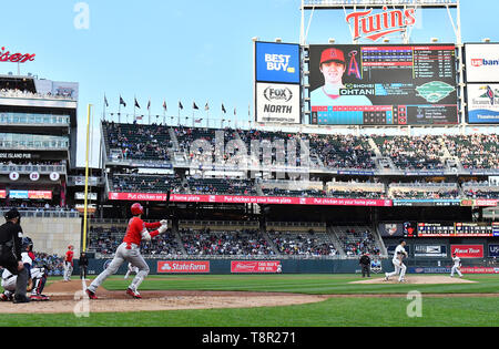 Los Angeles Angels' designated hitter Shohei Ohtani hits a two-run home run in the third inning during the Major League Baseball game against the Minnesota Twins at Oriole Park at Target Field in Minneapolis, Minnesota, United States, May 13, 2019. Credit: AFLO/Alamy Live News - Stock Image