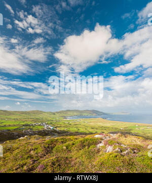 View from the Beara Way walking path above the colourful village of Allihies, Beara, County Cork, Ireland - Stock Image