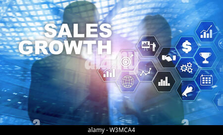 Chart growth concept. Sales increase, marketing strategy. Double exposure with business graph. - Stock Image