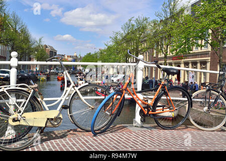 Typical view in the South Holland university city of Leiden known for its centuries-old architecture and Rembrandt's birthplace - Holland,Netherlands - Stock Image