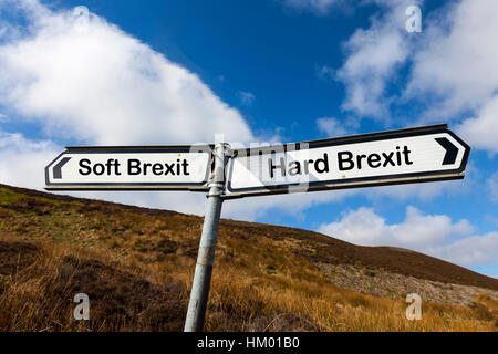 Hard Brexit Soft Brexit UK future concept leaving the EU after referendum on Europe sign direction options - Stock Image