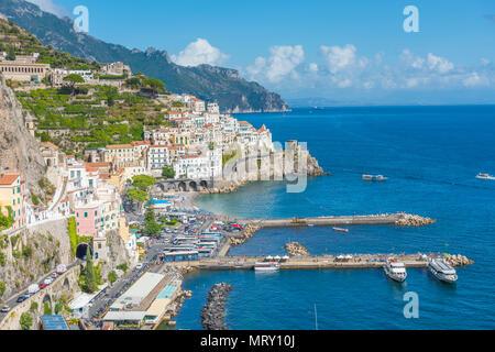 Amalfi, Amalfi coast, Salerno, Campania, Italy. High angle view of Amalfi - Stock Image