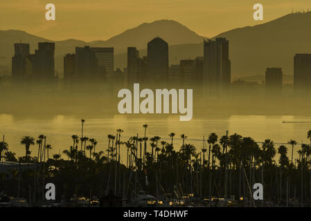 Calm sunrise, masked by fog layer, over the San Diego skyline, with North San Diego Bay and docked sailboats off Shelter Island, California, USA - Stock Image