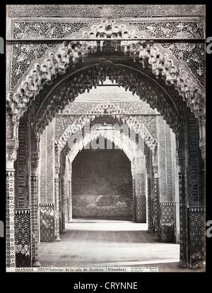 Interior de la Sala de Justicio, Alhambra, Granada, ca 1875, by Juan Laurent - Stock Image