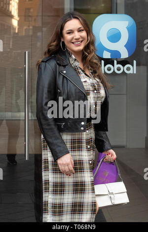 Kelly Brook at Global Radio studios  Featuring: Kelly Brook Where: London, United Kingdom When: 14 Feb 2019 Credit: WENN.com - Stock Image