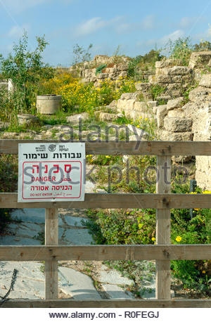 Closed section of Caesarea archaeological area, Israel - Stock Image