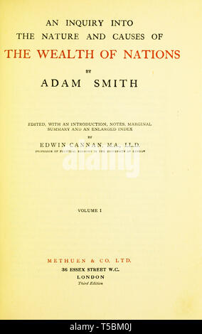 Wealth of Nations, Adam Smith (1723-1790) book title page, reprint 1922 by Methuen & Co. - Stock Image
